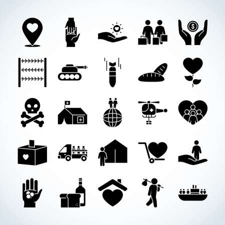 hearts and refugee people icon set over white background, silhouette style, vector illustration 向量圖像