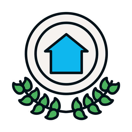 human rights symbol, badge with house icon and decorative wreath of leaves over white background, line and fill style, vector illustration