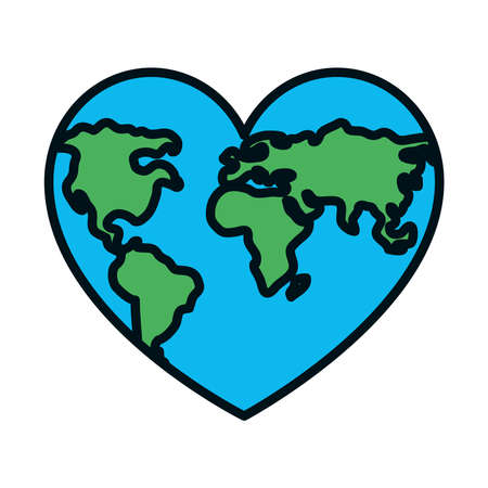 world map in heart shape icon over white background, line and fill style, vector illustration