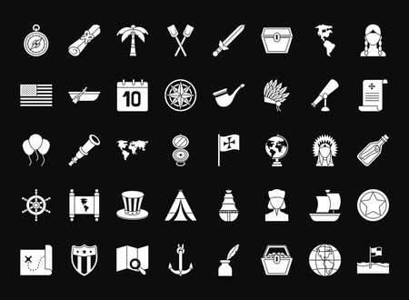 Columbus day icon set over black background, silhouette style, vector illustration
