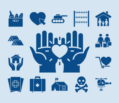 hands and humanitarian help icon set over blue background, silhouette style, vector illustration Vettoriali