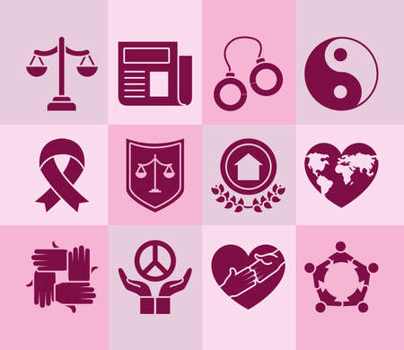 justice scale and human rights icon set over pink background, silhouette style, vector illustration Vettoriali