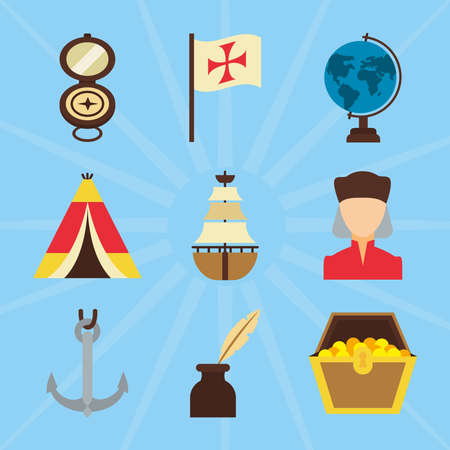 Columbus day and compass icon set over blue background, flat style, vector illustration