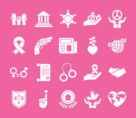 revolutions hands and Justice icon set over pink background, silhouette style, vector illustration Vettoriali