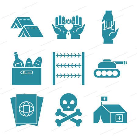 camping tents and refugee people icon set over white background, silhouette style, vector illustration 向量圖像