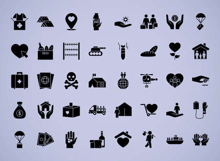 refugee people icon set over white background, silhouette style, vector illustration 向量圖像