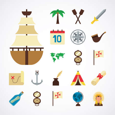sailing boat and Columbus day icon set over white background, flat style, vector illustration Vettoriali
