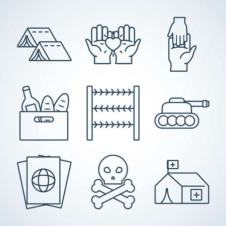 camping tents and refugee people icon set over white background, line style, vector illustration