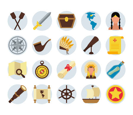 compass and Happy colombus day icon set over white background, flat style, vector illustration