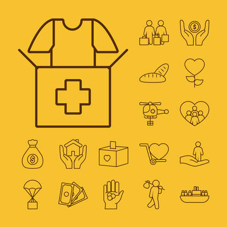 donation box and humanitarian help icon set over yellow background, line style, vector illustration