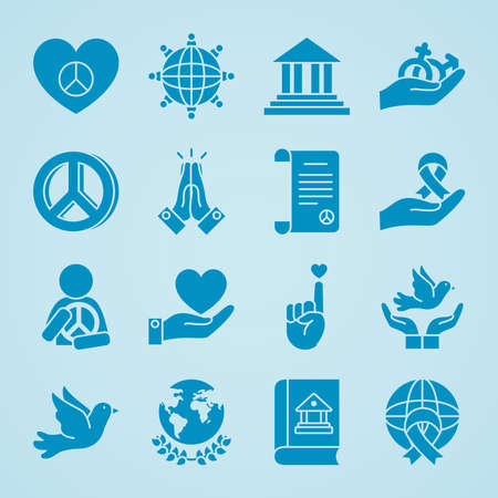 hearts and human rights icon set over blue background, silhouette style, vector illustration Vettoriali