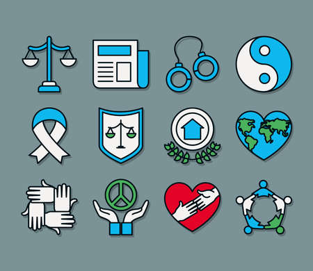 justice scale and human rights icon set over gray background, line and fill style, vector illustration