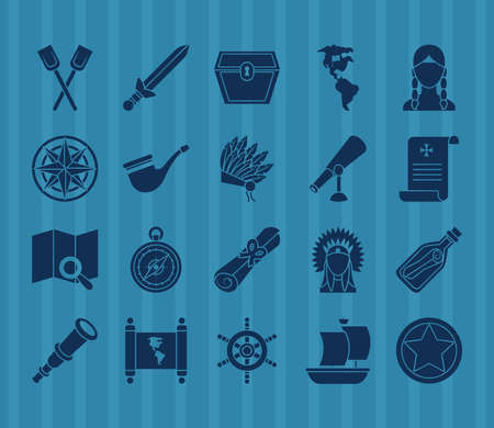 compass and Happy colombus day icon set over blue background, silhouette style, vector illustration
