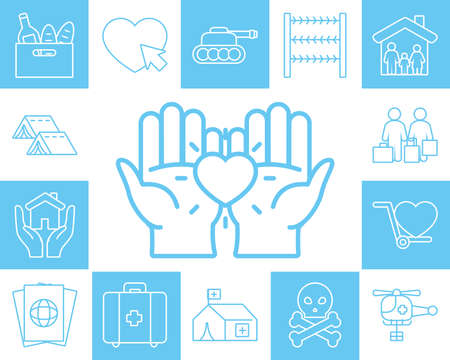 hands and humanitarian help icon set over blue and white background, line style, vector illustration Vettoriali