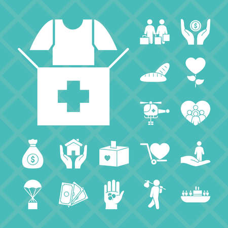 donation box and humanitarian help icon set over white background, silhouette style, vector illustration