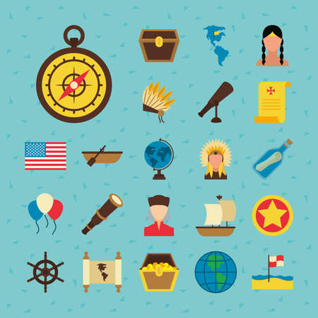 usa flag and Happy colombus day icon set over blue background, flat style, vector illustration Vettoriali