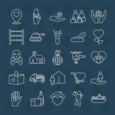 hearts and refugee people icon set over blue background, line style, vector illustration 向量圖像