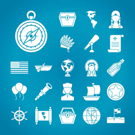 usa flag and Happy colombus day icon set over blue background, silhouette style, vector illustration Vettoriali