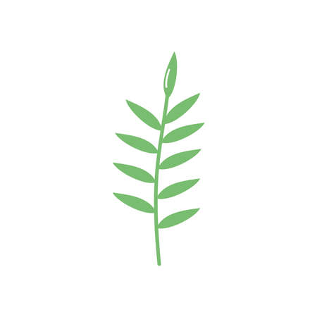 stem with leaves icon over white background, flat style, vector illustration
