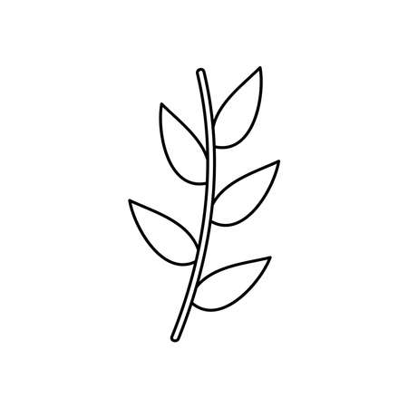autumn stem with leaves icon over white background, line style, vector illustration