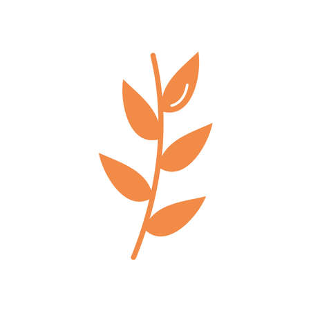 autumn stem with leaves icon over white background, flat style, vector illustration
