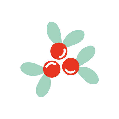 holly berries icon over white background, flat style, vector illustration Ilustração