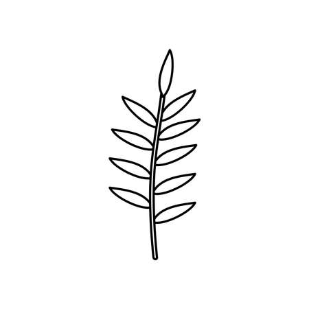 stem with leaves icon over white background, line style, vector illustration