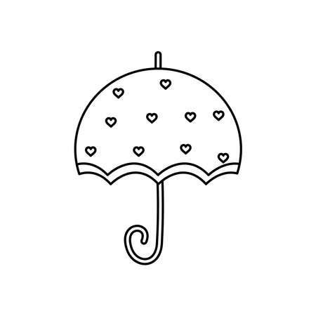 umbrella with hearts design over white background, line style, vector illustration