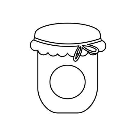 jam bottle icon over white background, line style, vector illustration