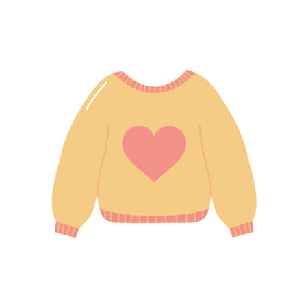 sweater with heart icon over white background, flat style, vector illustration