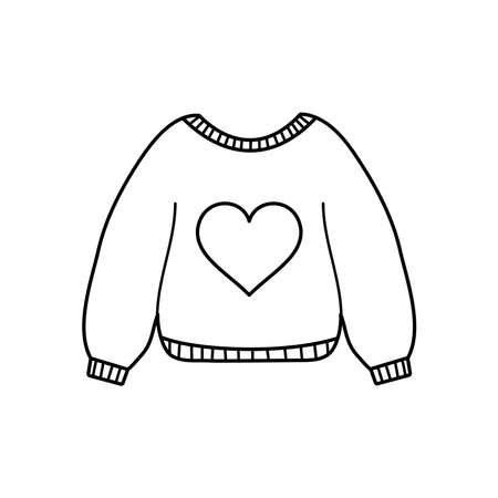 sweater with heart icon over white background, line style, vector illustration