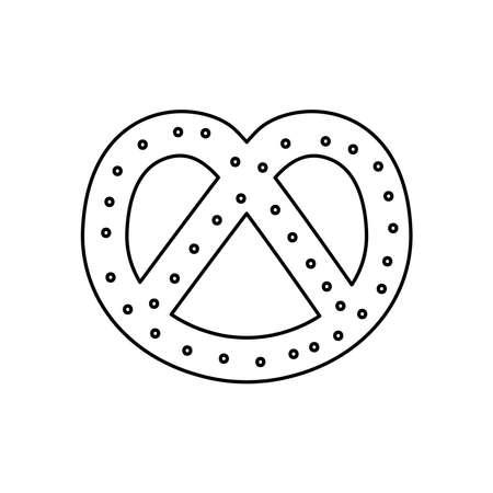 pretzel icon over white background, line style, vector illustration 일러스트