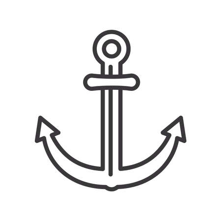 anchor line style icon design Sea nautical ocean navigation travel underwater water and marine theme Vector illustration