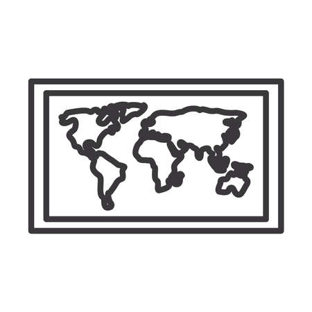 World map line style icon design, Planet continent earth and globe theme Vector illustration