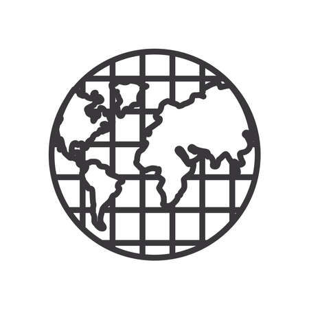 World sphere line style icon design, Planet continent earth and globe theme Vector illustration