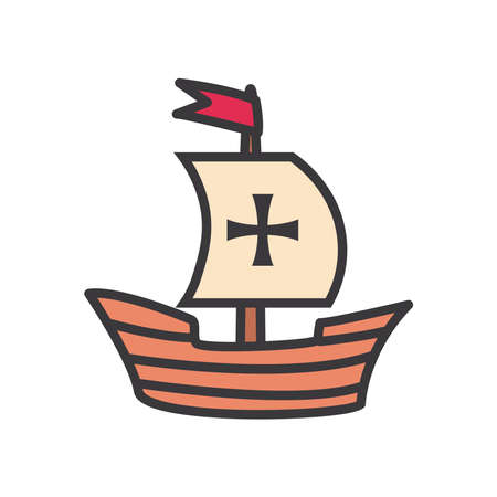 Columbus ship line and fill style icon design of america and discovery theme Vector illustration