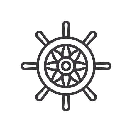 rudder line style icon design Sea nautical ocean navigation travel underwater water and marine theme Vector illustration