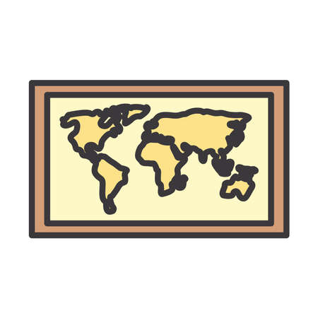 World map line and fill style icon design, Planet continent earth and globe theme Vector illustration Иллюстрация