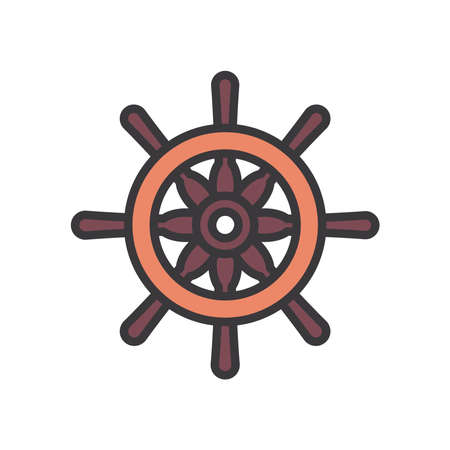 rudder line and fill style icon design Sea nautical ocean navigation travel underwater water and marine theme Vector illustration