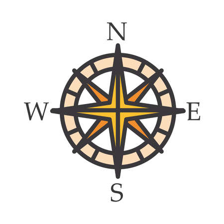 Compass line and fill style icon design, Tool navigation location north south west east travel map and adventure theme Vector illustration Ilustración de vector
