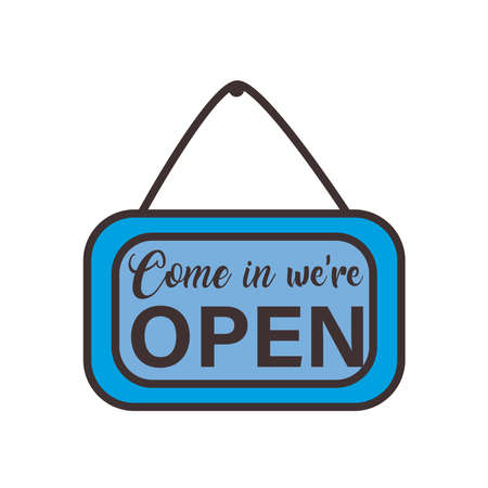 come in we are open banner line and fill style icon design of Shopping commerce and covid 19 theme Vector illustration Vettoriali
