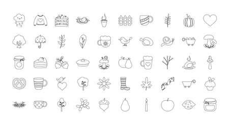 autumn icon set over white background, line style, vector illustration