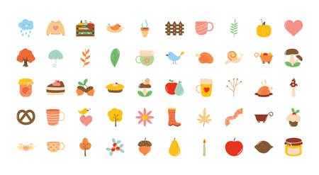 autumn icon set over white background, flat style, vector illustration