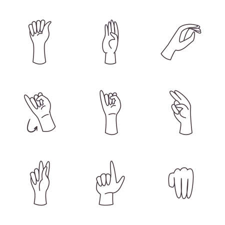 hand sign language alphabet line style icon set design of People help finger person learn communication healthcare theme Vector illustration