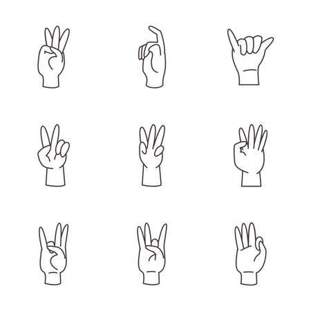 hand sign language alphabet line style icons collection design of People help finger person learn communication healthcare theme Vector illustration