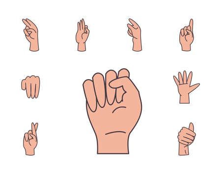hand sign language alphabet line and fill style set icons design of People help finger person learn communication healthcare theme Vector illustration Vettoriali