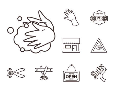 line style set icons design of Shopping commerce and covid 19 theme Vector illustration