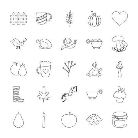icon set of autumn and heart over white background, line style, vector illustration