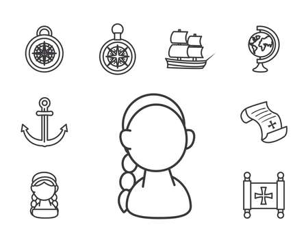 Columbus line style set icons design of america and discovery theme Vector illustration Vettoriali