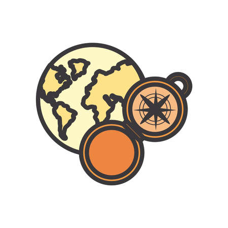 Compass and world line and fill style icon design, Tool navigation location north south west east travel map and adventure theme Vector illustration